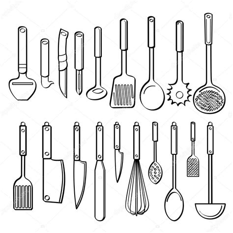 Kitchen Utensils Pictures To Color 주방 용품 스톡 벡터 169 Godfather744431 53106629