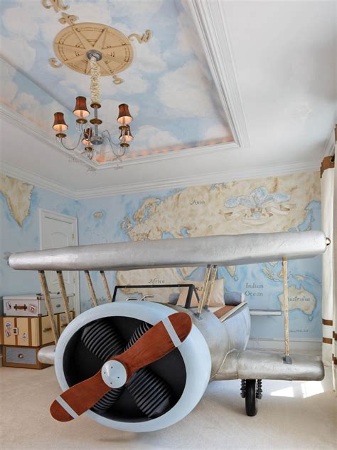 airplane bed aviation themed kids bedroom dahlia mahmood hgtv