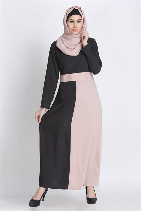 Khimar Duo Colour color block everyday abaya new duo color maxi dress