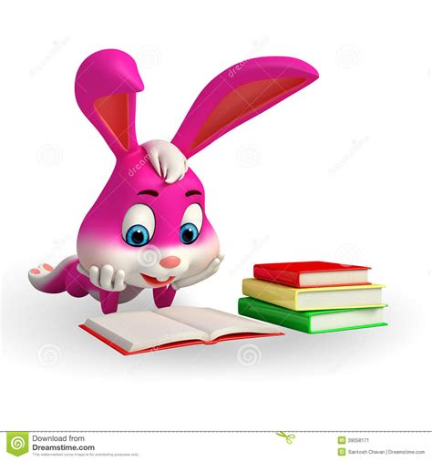 easter bunny book stock image easter bunny reading a book image 39058171