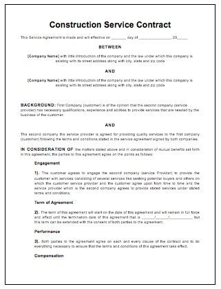 building contract agreement template free construction contract contract templates