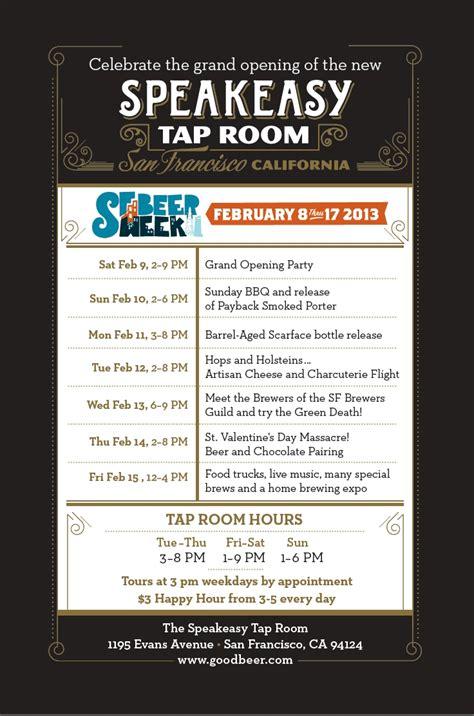 The Tap Room Menu by Speakeasy S Tap Room Grand Opening During Sf Week