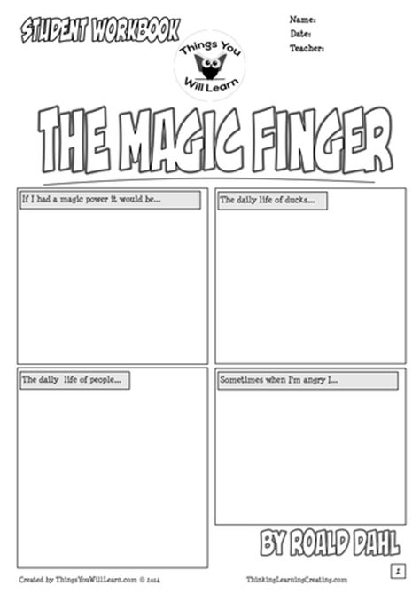 roald dahl book review template the magic finger workbook roald dahl by teachercellar