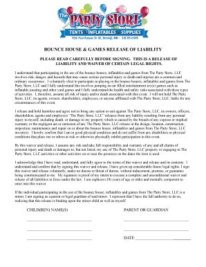 Fillable Bounce House Consent Form Forms And Document Blanks To Submit Online Bounce House Waiver Template