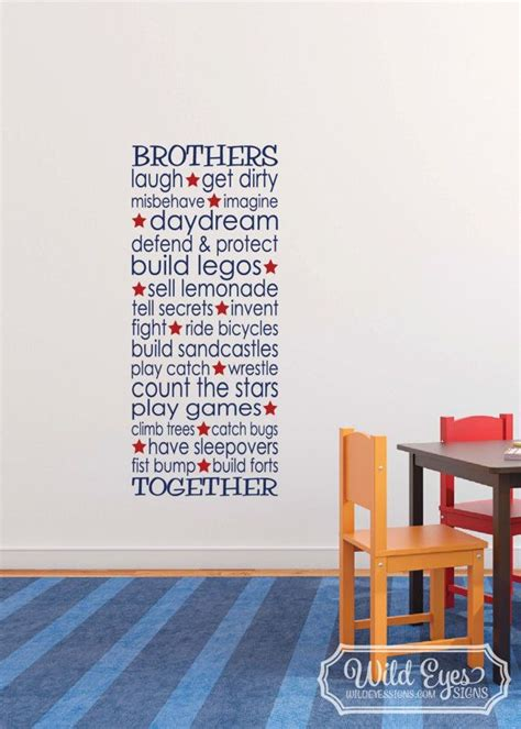 Kids Play Room Brothers Together Vinyl Wall Decal Playroom Rules Art Boy