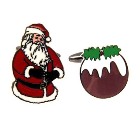 santa claus christmas pudding novelty cufflinks from