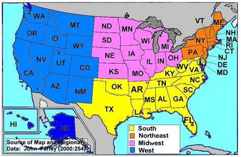 usa map by region us map