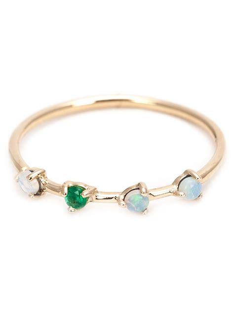 wwake opal and emerald ring in gold metallic lyst