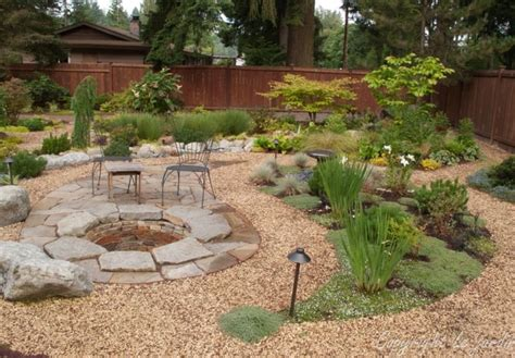backyard stone patio ideas flagstone gravel yard design home backyard pinterest