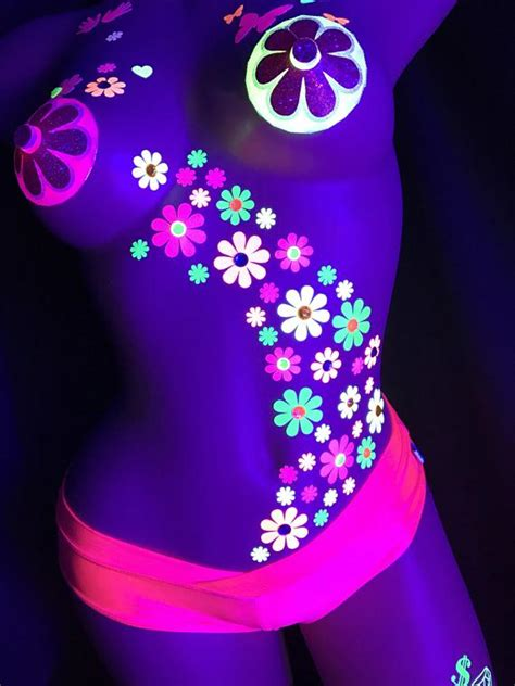 black light daisy body stickers edc costume neon etsy