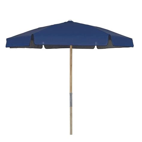 Vinyl Patio Umbrella 7 5 Ft Wood Patio Umbrella With Navy Blue Vinyl Coated Weave 7bpu 6r Tx Nb The Home Depot