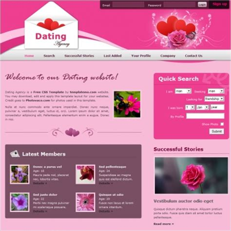 Dating Template dating free website templates in css html js format for