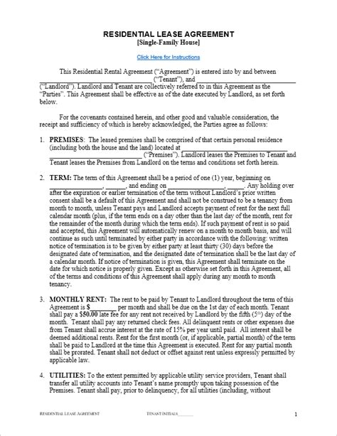 Free Lease Agreement Template For Word Residential Lease Contract Template