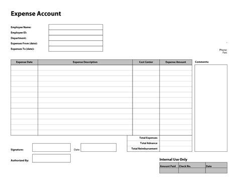 10 best images of free printable expense report template