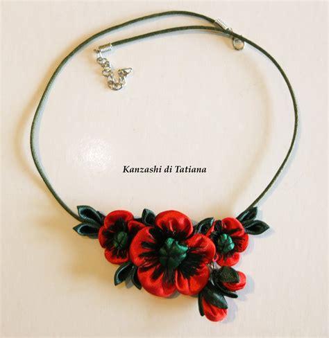 collane fiori collana kanzashi fatta a mano con fiori papavero