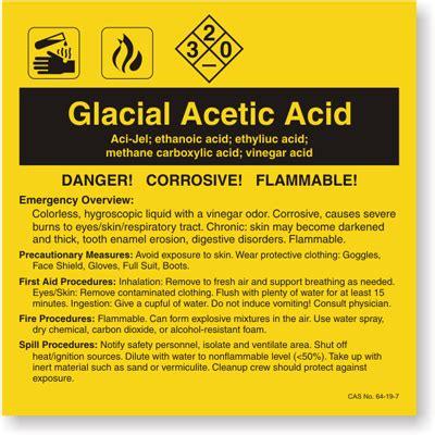 Glacial Acetic Acid Ansi Chemical Label Sku Lb 1584 062