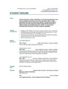 Exle Of Resume Format For Student by Student Resume Templates Student Resume Template Easyjob