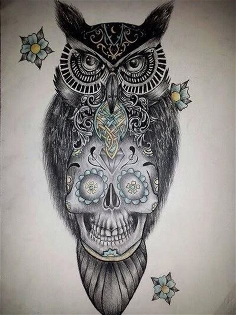 owl and skull tattoo sugar skull owl design tattoos