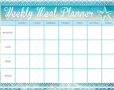 printable a4 weekly meal planner items similar to printable weekly meal planner and