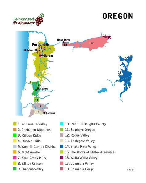 oregon wine tasting map a guide to oregon wine united states fermented grape