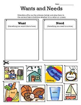 kindergarten activities needs and wants wants vs needs sort primary social studies students