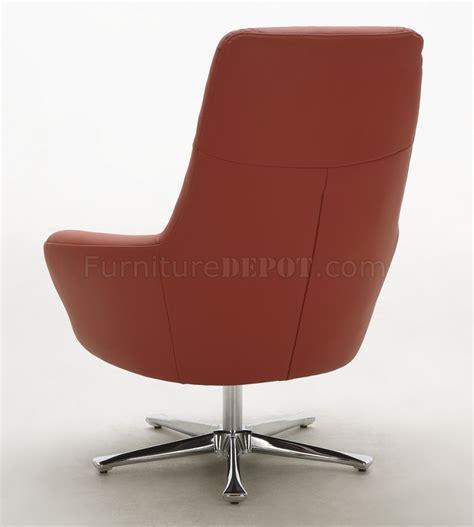 Orange Brown Or Off White Top Grain Leather Modern Swivel Orange Leather Swivel Chair