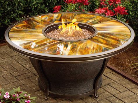 Table Firepit Oakland Living Moonlight Aluminum 48 Gas Firepit Table With Tempered Glass Top 8205 Rd48