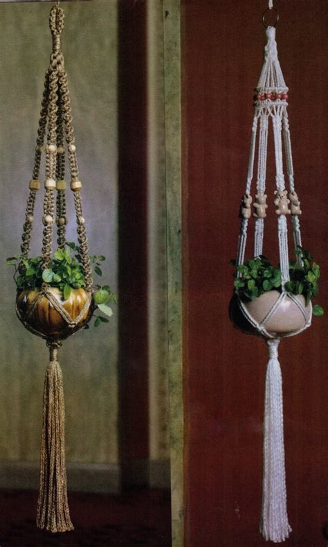 1970s Macrame - vintage 1970s macrame hanging pot plant holder or fruit basket