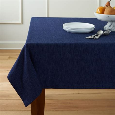 linden indigo blue tablecloth crate  barrel