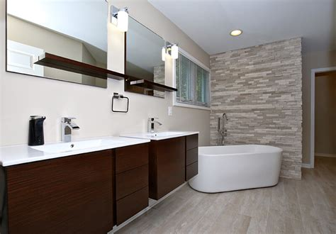 contemporary white master bath with tub and shower savvy
