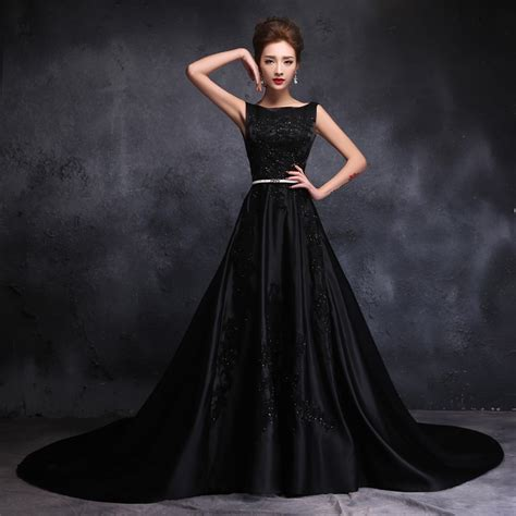 Black Wedding Dresses by 2016 Stain Black Wedding Dresses Chapel Scoop