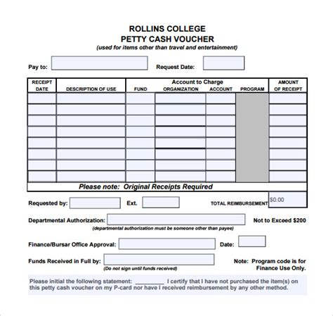 petty disbursement form template sle petty voucher template 9 free documents in