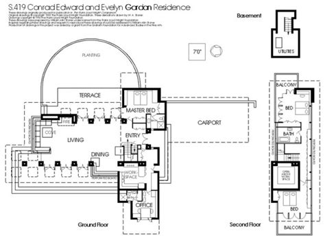 frank lloyd wright house floor plans frank lloyd wright s gordon house plan plan and elevation pintere