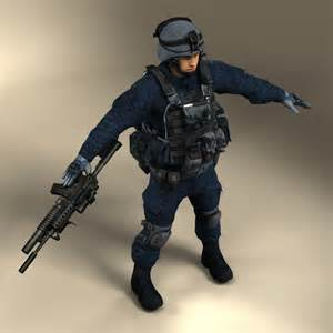 swat officer 3d model ready animated rigged