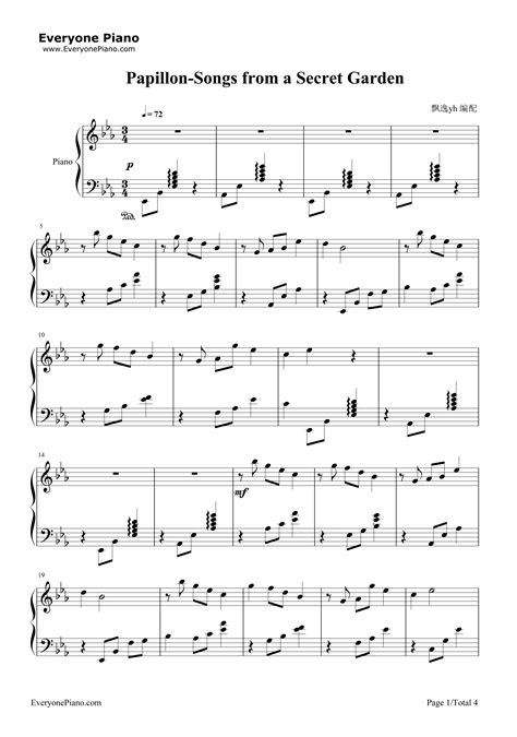 secret piano tabs papillon songs from a secret garden stave preview 1 free