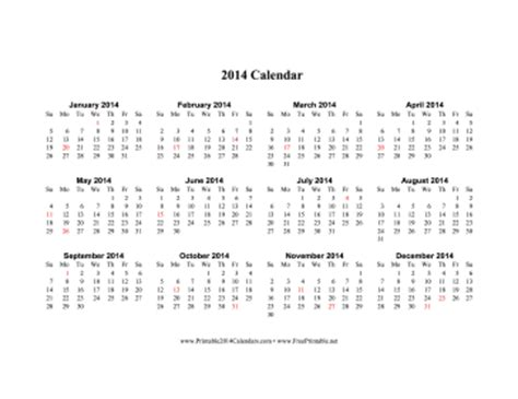 2014 one page calendar template printable 2014 calendar on one page horizontal holidays