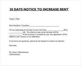 Rent 30 Day Notice Letter Sle Rent Increase Letter To Tenant Template 28 Images
