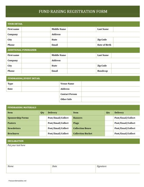 word form templates fundraising registration form