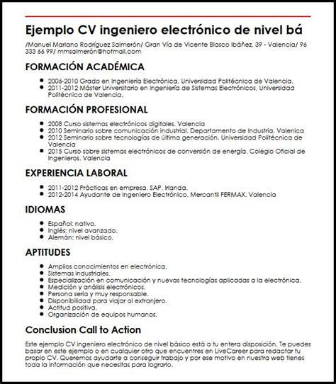 Modelo Curriculum Tecnico Electricista modelo de curriculum vitae ingeniero electrico modelo de curriculum vitae