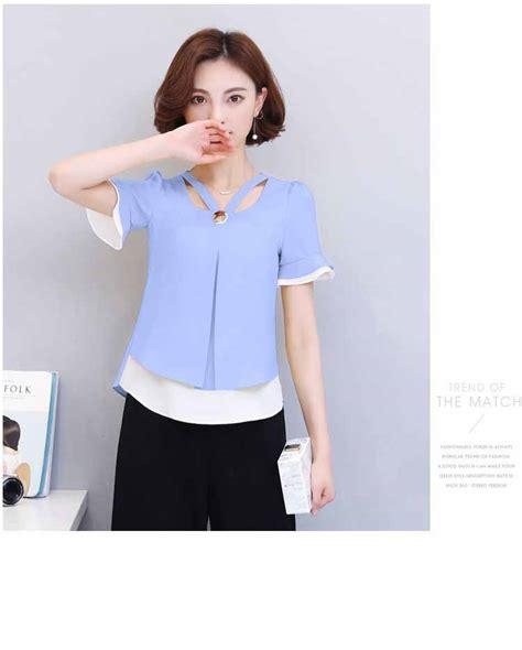 Blouse Wanita Biru blouse wanita warna biru korea 2017 myrosefashion