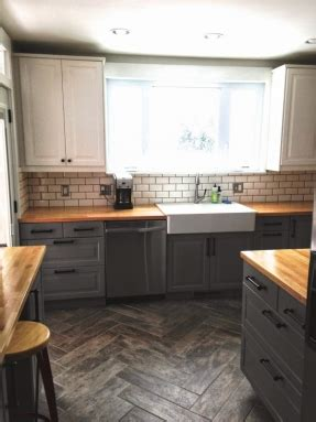 light grey kitchen cabinets with wood countertops light grey cabinets with butcher block countertops