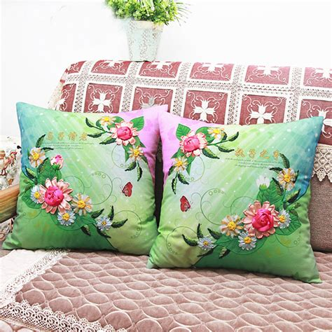 buy wholesale ribbon embroidery cushion covers from