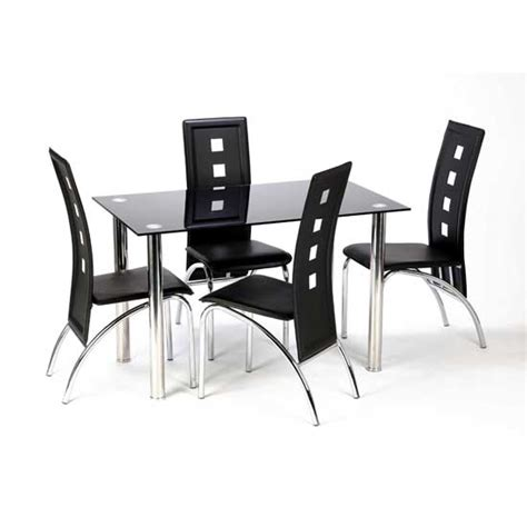 Glass Dining Table And 4 Chairs Furniture In Fashion Black Dining Table And 4 Chairs