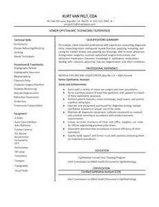 Ophthalmic Assistant Resume sle ophthalmic technician resume
