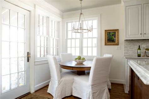 Slipcovers For Dining Room Chairs best white paint color for walls and trim the decorologist