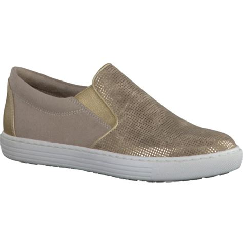 marco tozzi womens gold slip on shoes 2 2 24613 28 943