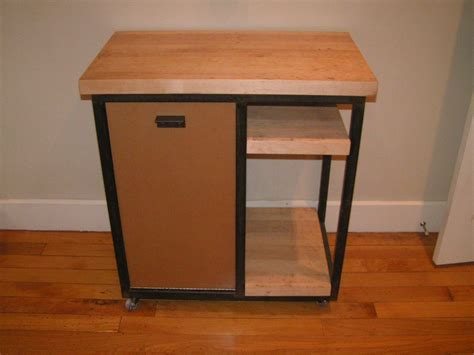 Reclaimed Wood Kitchen Islands Handmade Butcher Block Kitchen Cart With Trash Can Door By