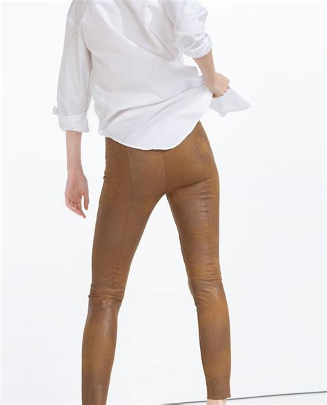Zara Legging Brown zara faux leather brown on tradesy