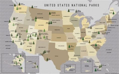 national park map usa buy us national parks map