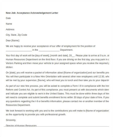 Acknowledgement Letter For Acceptance sle acknowledgement letter for on the